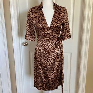 MARCIANO ⭐️100% SILK Cheetah Print Wrap Midi Dress